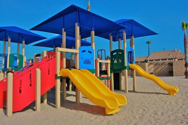 wave plastic and wood playground