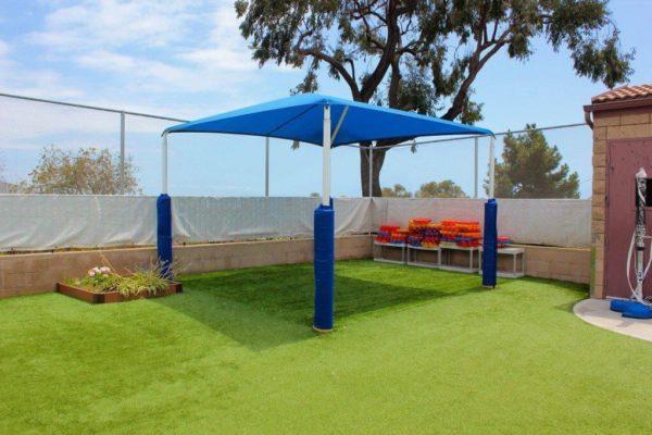 blue garden tent