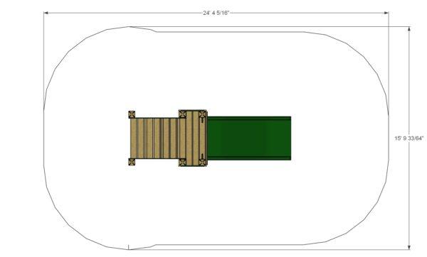Freestanding 36in Wide Slide Plan View