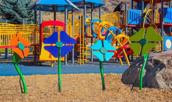 playground metal flowers