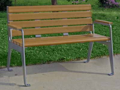 Plaza Bench With Back